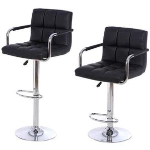 Lot de 2 Chaises de Bar avec Accoudoirs Pivotantes et Réglables en Hauteur 86.5 cm - 107.5cm Noir - OOBEST