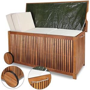 Coffre de rangement avec roues et poignée acier inoxydable 117 x 52 x 58,5 cm coussins housses jeux - bâche intérieure bois dur dacacia - DEUBA