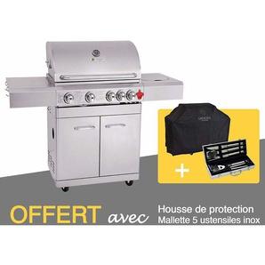 GREADEN BBQ Grill Barbecue À Gaz INOX PHÉNIX - 4 BRÛLEURS+1 FEU LATÉRAL et Thermomètre, Puissance 17.5KW, Grille/Plancha/Réchaud