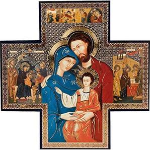Biblegifts Sainte Famille Crèche de Noël en Forme de Croix Doré/argenté métallique daccrochage de Icon Style 15,2x 15,2cm Religieux Cadeau