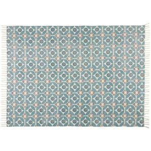 Tapis en coton bleu à motifs 140x200
