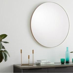 Arles, grand miroir rond, 85 cm de diamètre, métal fini or rose brossé