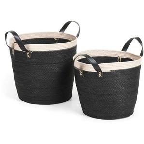 Kave Home - Set Kysna de 2 paniers noir et beige