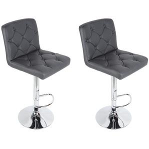 Lot de 2 chaises de bar réglables gris avec dossier hauteur réglable en tissu gris - JEOBEST