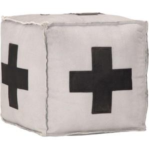 Pouf Gris 40 x 40 x 40 cm Toile de coton et cuir - VIDAXL