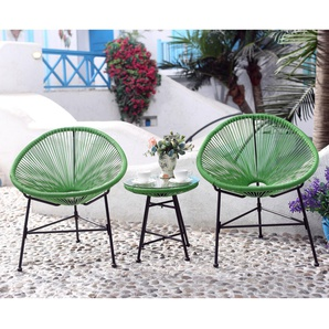 Acapulco : Ensemble 2 fauteuils oeuf + table basse vert