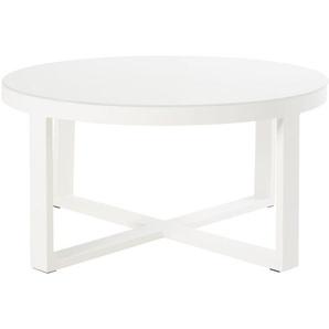 Table basse de jardin ronde en métal blanc et verre Thetis