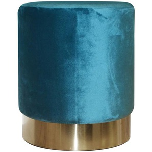 Rondo - Pouf Rond Velours Bleu et Base Métal