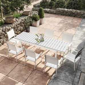 Table de jardin extensible aluminium blanc gris 180/240cm + 8 fauteuils empilables textil�ne - PALMA 8 - AVRIL PARIS