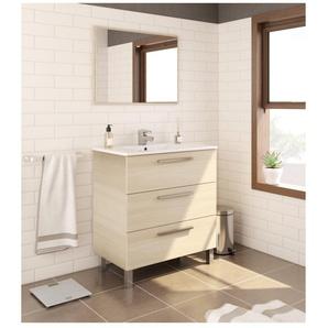 Meuble de salle de bain 3 tiroirs sur le sol 80 cm chêne clair avec miroir | Chêne clair - Avec lampe Led - BAGNO