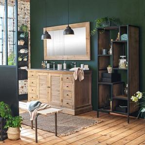 Meuble salle de bain bois massif 2 vasques, 2 portes à clayettes 8 tiroirs