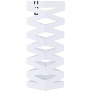 Porte parapluies en métal carré avec un plateau et crochets 15,5 x 49 x 15,5cm Blanc LUC16W - SONGMICS