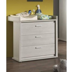 MSI Commode à langer 3 tiroirs peint chêne gris doux