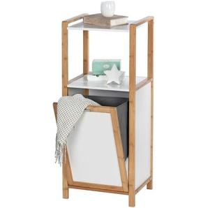 Etagère de salle de bain en bambou avec panier à linge Finja - L. 40 x H. 95 cm - Blanc - WENKO