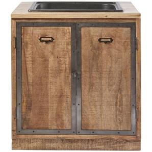 Meuble bas de cuisine avec évier 2 portes en manguier massif Melchior