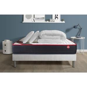 Pack prêt à dormir VITALSPRING 180x200 Ressorts ensachés 3 zones Ultra épaisseur + sommier kit blanc + 2oreillers + couette - VITALIT