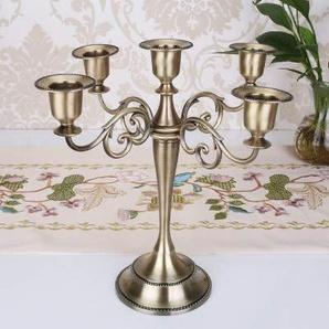 Bougeoir Chandelier de mariage bougeoir bougeoir chandelier rétro à 5 bras en métal argenté/doré/noir/bronze (Color : Bronze)