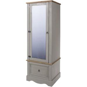 Armoire pin gris 1 porte miroir 1 tiroir - CANOAS