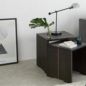Anderson, lot de 2 tables gigognes, bois de manguier teinté gris et cuivre