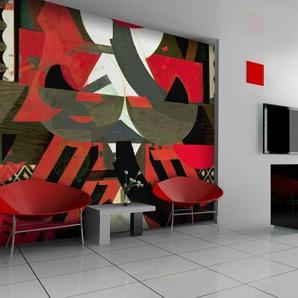 Papier peint - Composition artistique en rouge