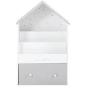 Bibliothèque maison enfant 1 tiroir grise et blanche Celeste