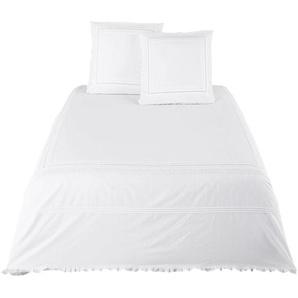 Parure de lit en percale de coton blanc brodé et en crochet 240x260