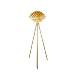 Lampadaire design Triolo ls en bois et bambou naturel