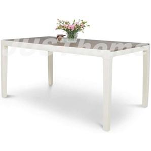 JUSTyou FLORENCE Table de jardin 73x90x160 Blanc Brun