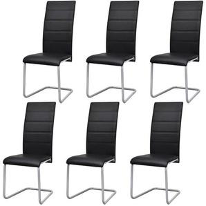 Chaises de salle à manger 6 pcs Noir Similicuir - VIDAXL