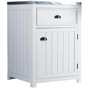 Meuble bas de cuisine ouverture gauche en pin blanc L60 Newport