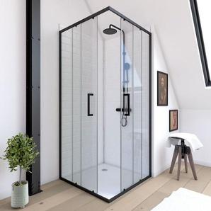 Paroi porte de douche carrée - CRUSH SQUARE 90- 90x90x200cm - PROFILE NOIR MAT - verre transparent 6mm - AURLANE