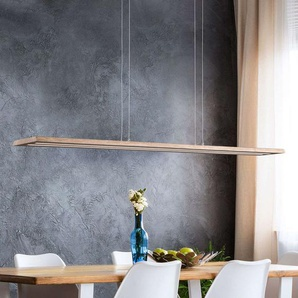 Suspension LED Cyra bois naturel, 138 cm