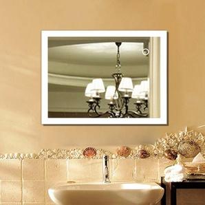 90*70 CM Miroir Salle de Bain avec LED Nouvelle Génération Anti-Brouillard Bouton Tactile Cadre en Aluminium Mat - OOBEST