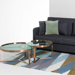 Aula, tables basses gigognes, cuivre et verre vert