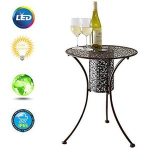 Garden Mile® Illumina Table de jardin décorative avec lumières LED Table de bistrot Café En métal brossé filigrane 45cm de diamètre