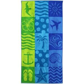 Drap de plage 75x150 cm éponge velours 480 g/m² BAUNEI Damier de motifs Bleu
