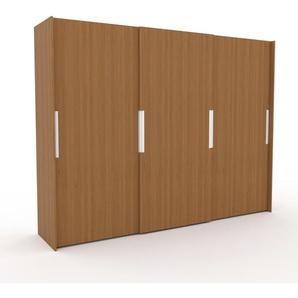 Dressing en chêne, bois massif, moderne, armoire penderie pour chambre ou entrée, avec portes coulissantes - 304 x 233 x 65 cm, modulable