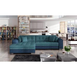 Canapé dangle convertible 4 places en tissu turquoise et bleu avec méridienne côté gauche