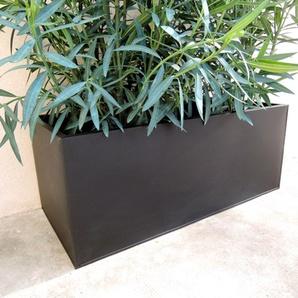 Jardinière rectangulaire zinc noir mat à poser  Jardin - TGM
