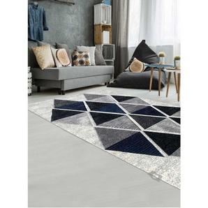 Tapis pour salon ambiance scandinave LOSANDESIGN bleu, gris, écru, noir 160x230 - UNAMOURDETAPIS