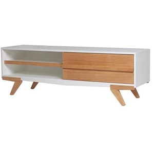 TINA Meuble TV 1 porte - Décor blanc ciré - L 130 x P 39 x H 43 cm