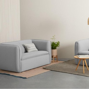 Berko, canapé 2 places, coton gris craie