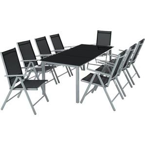 Salon de Jardin avec 8 Chaises Pliantes et 1 Table en Verre et en Aluminium Gris clair Noir - TECTAKE