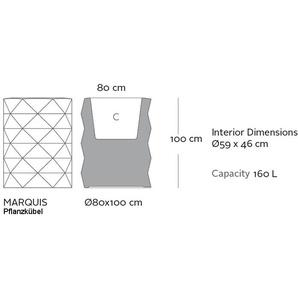 Vondom Pot de fleurs MARQUIS - Système darrosage - Ø 80 x 100 cm - gris acier