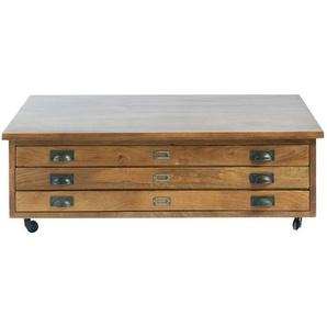 Table basse à roulettes 3 tiroirs en manguier massif Hipster