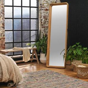 Miroir sur pied bois et métal gris