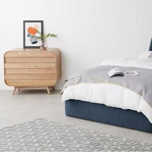 Hayllar, lit coffre double (140 x 200) avec sommier, bleu Égée