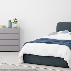 Baya, lit coffre double (140 x 200) avec sommier, bleu Égée