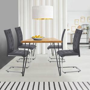Lot de 4 chaises MIA capitonnées grises pour salle à manger - IDMARKET