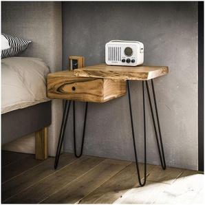 Table de chevet vintage en bois massif avec tiroir à gauche Julia - Naturel - VIVABITA